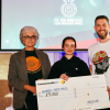 Winners holding $5000 cheque for the 2019 Indigi Hack young innovators awards.