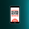 On the left hand side of the image is a picture of a smart phone with the Support Act wellbeing helpline number 1800 959 500, on the right hand side of the image is a person sitting against a wall leaning their head into their hands.