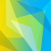 Geometric shapes - triangles in blue white and yellow shades.