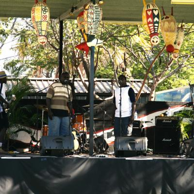 Performers on stage at the Garma Festival.