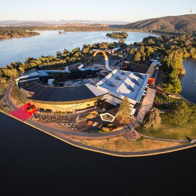 Aerial view of the National Museum of Australia, Canberra. Credit: Adam McGrath.
