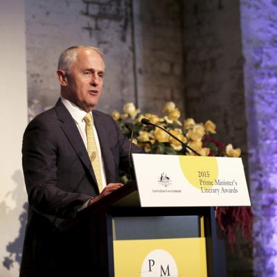 Prime Minister Malcolm Turnbull speaking at the 2015 PM Literary Awards